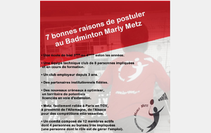 Offre d'emploi - Badminton Marly Metz